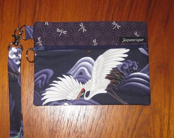 Wrist Strap Zippered Pouch Flying Cranes Design Japanese Asian Fabric