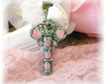 Vintage Antique Key Pendant Hand Painted Pink Roses Green Patina Shabby Chic Jewelry Supplies Ornament Charms Floral Flowers Romantic Favor