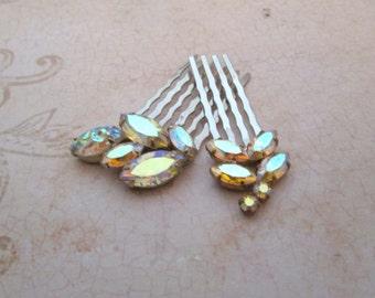 Rhinestone Hair Combs, Vintage comb, Sherman Jewelry, pink rhinestone haircomb, small hair comb, Wedding hair accessories, bridal hair comb