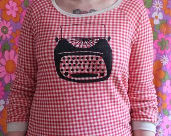 SALE Typewriter Red Plaid Gingham Sweatshirt Size S-XL