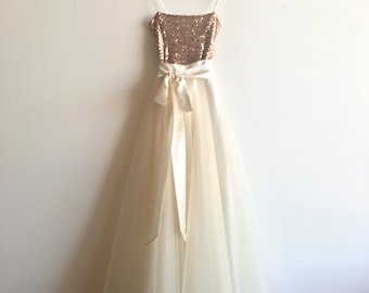 SAMPLE SALE Mocha Sequin Floor Length Tulle Gown -  by Cleo and Clementine