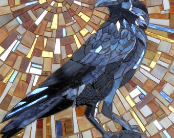 Crow Card - Crow Mosaic - Raven Card Jackdaw Card - Mosaic Art - Crow Art  Mosaic Bird Art - Raven Art - Crow Print - Black Bird Art For Him