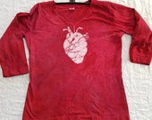 S Womens Anatomical Heart 3/4 length sleeve batik  Small