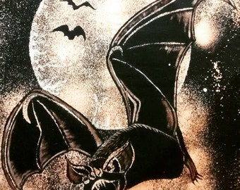 Bat A Shirt Bleach Dyed Moon Shadow Visions Halloween Stars Black  Reverse Tie Dye size 3XLarge Good for Dress Too