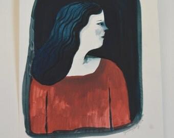 SALE Emily - Gouache painting on paper - Original artwork