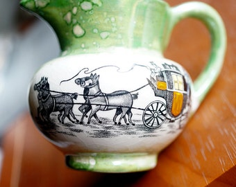Miniature Creamer from England, Creamer,Signed and Numbered, Green and White, Old Castle
