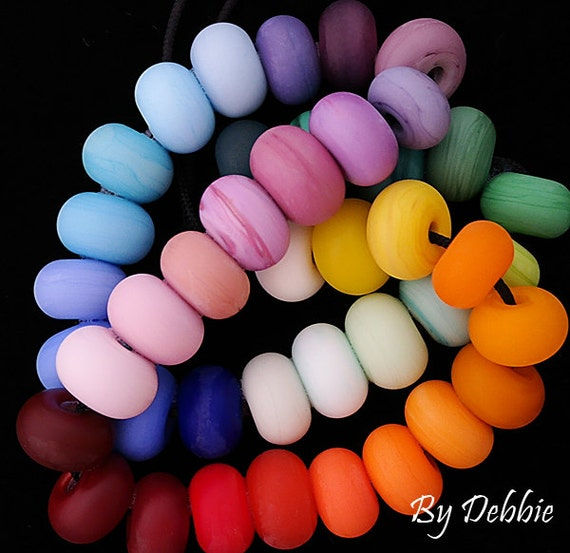 DSG Beads-Artisan Debbie Sanders Glass Handmade Lampwork Beads ~Rainbow Rounds~ Made To Order
