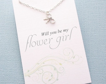 Flower Girl Gift | Tiny Bow Necklace, Flower Girl Necklace, Flower Girl Jewelry, Flower Girl Gifts, Bridesmaids Gift, Bridesmaids | B01