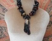 Urban Tribal black on black with faux tortoise necklace, black onyx, spirit fetish,
