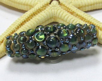 SMAUGGS handmade lampwork bead (43mm x 15mm), glass, green, silver dots, hole 2mm