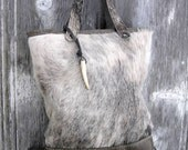 Hair On Cowhide and Distressed Leather Tote Bag in Grey Roan Hide by Stacy Leigh