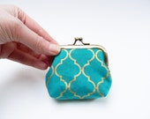 Coin purse, turquoise and gold decorative purse, cotton pouch