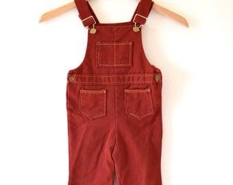 SPRING SALE/ 20% off Vintage 70s Oxblood Red Denim Baby Bellbottom Children's Overalls (size 3T)