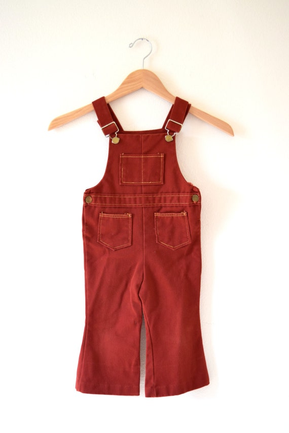 Vintage 70s Oxblood Red Denim Baby Bellbottom Children's Overalls (size 3T)