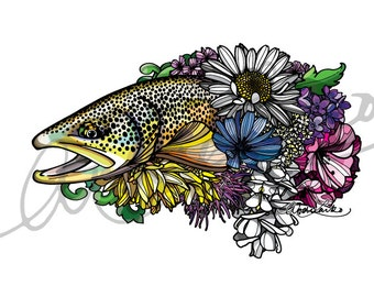 Brown Trout Flower Hatches Laminated 3M Vinyl Decal