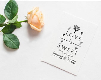 Fall themed autumn leaves love is sweet custom rubber stamp personalized wedding favors --5522