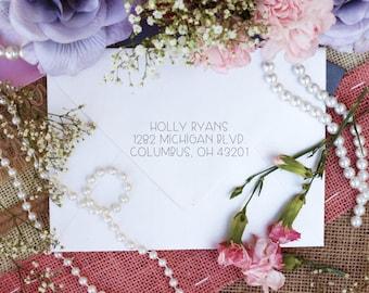 Custom Return Address Self Inking Stamp Simple Cute Font --10339-PI12-000