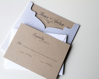 Kraft and Gray Stripe Pocket Invitation, Wedding Invitations, Wedding Invites, Kraft Paper, Pewter Invite, Etsy Weddings, Sample Set