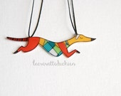 Greyhound dog necklace, Illustrated animal jewelry, necklace gift for her