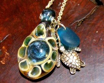 TURTLE back and Sea Turtle, Sea Glass Handmade Lampwork Glass Bead Necklace, Nc2228, Beach, Nautical, Ocean, Memory  SRA by Lynn
