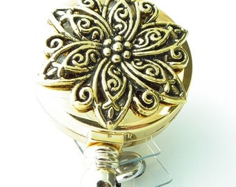 Gold Star Filigree Badge Holder, ID Badge Reel - 276