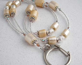 Beaded ID Badge Lanyard, Cream Pearl Finish Tubes with Crystals and Silver