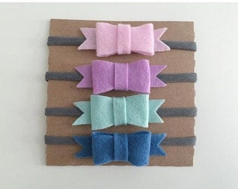 Pastel Felt Bow Headbands - set of 4
