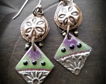 Enameled Charms, Flowers, Banjara, Kuchi, Vintage, Discs, Tribal, Vintage Beads, Artisan Made, Beaded Earrings