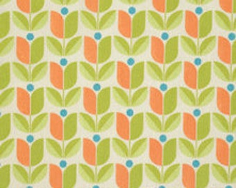 Cotton Fabric, Geometric Fabric, Floral Fabric, Joel Dewberry Flora fabric by Fabric Shoppe Designer Fabrics- Tulip in Carrot, Yardage