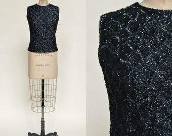 SALE /// 1960s Sequined Top --- Vintage Black Holiday Top