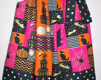 18m Halloween Dress Pillowcase Dress with Pumpkins Black Cats Haunted House toddler dress with Gold Metallic Dress with Spiders