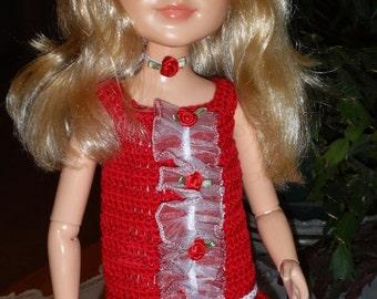Crochet outfit Best Friends Club 18 inch doll Dress Drop Waist Red White Roses Choker