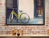 Bicycle Photography, New Orleans, Bike Print, Street Art, Architecture Print, Bicycle Wall Art, Yellow, French Quarter, Rustic Decor