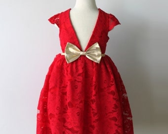 Red Lace and Gold Dress for Toddler and Girl, Holiday, Flower Girl, Special Occasion