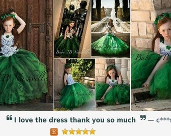 Emerald  Princess Flower Girl Dress, Wedding Flower Girl  Dress, Princess Dress,Wedding Flower Girl Tutu Dress All Sizes Girls