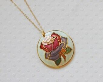 Cloisonne Necklace  Cloisonne Pendant Vintage Enamel Necklace  Boho Necklace