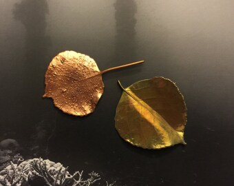 Two Copper Dipped Real Leaves, for Jewelry,Fall Decor, Art Supply, Christmas Decor, Packaging Gifts