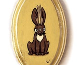 Jackalope Painting - Original Cryptozoology Animal Wall Art Acrylic Miniature Painting on Wood by Karen Watkins - Mythical Creature Art