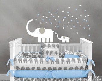 Baby Elephant Wall Decal - Elephants Decal with Blowing Leaves for Baby Nursery - Elephant Wall Art Decor - K229