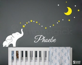 Elephants Wall Decal - Moon Stars Wall Decor - Elephants Decal Baby Name - Elephant Wall Art - vinyl sticker night bedroom - K401
