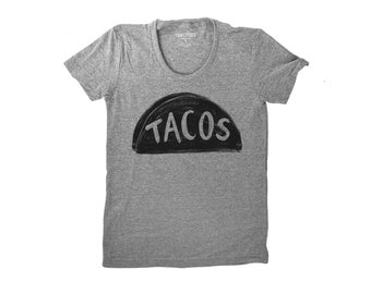 Women's Grey Taco Shirt, back to school graphic tee, gift for her, taco tuesday funny tshirt, taco truck gift for her, for teen, foodie gift
