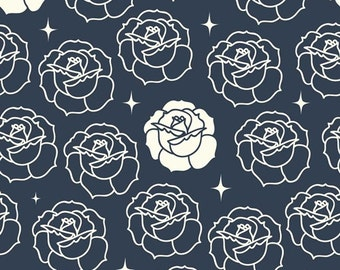 Birch Tall Tales Stamped Rose Dusk Organic Cotton Fabric