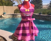Cheshire Cat inspired Sassy Apron with Petticoat, Alice in Wonderland Chesire Cat Comicon, Girls, Womens Misses, Plus Sizes Dress Up Costume