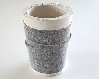 Cover for concrete pot, concrete cup cozy, mug cosy, cup sleeve, concrete cup cover