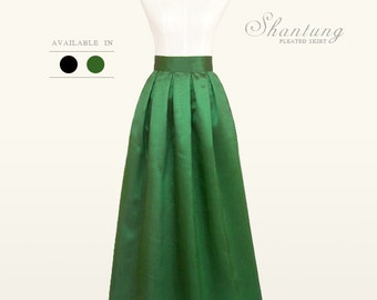 Shantung fully lined custom made pleated long maxi skirt with pockets in black and green for your wedding, special occasion