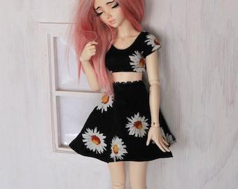 Doll dollfie MSD Minifee BJD clothes Sunflower crop top and skater skirt set MonstroDesigns