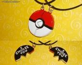 Pokemon - Pokeball Friendship Necklace - I Choose You Engraving