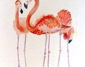 Flamingo Bird Art PRINT Animal Art watercolor pinik painting, Nature painting, Flamingo tropical bird painting zoo animal art Coral painting