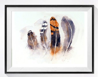Feather art Watercolor Print Feather illustration orange Feather drawing Bird art print Watercolor still life of feathers Animal Art