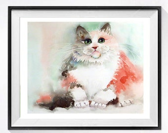 30. Cat Artwork for childs room Watercolor original room decor Wall art Persian cat painting Pink painting Child's nursery Holiday Sale